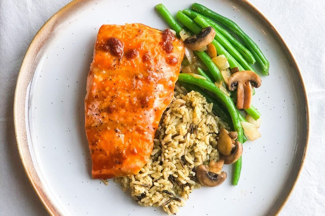 maple miso glazed salmon